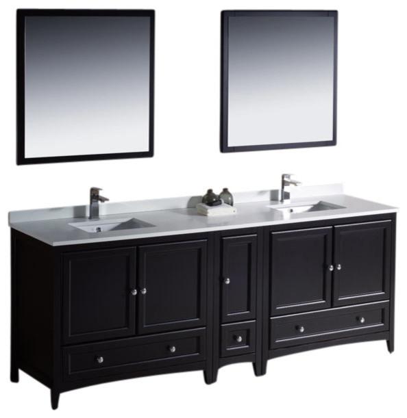 84 Espresso Double Sink Vanity W Side Cabin Cascata