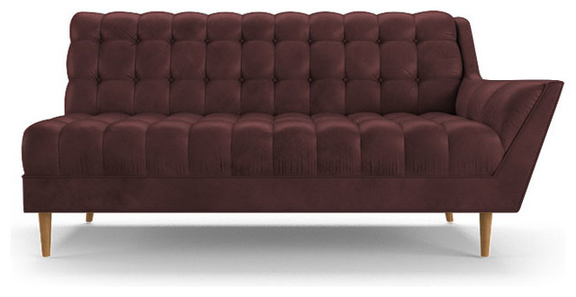 Fitzgerald Leather Single Arm Sofa Brighton Aubergine Purple Midcentury Sofas By Joybird