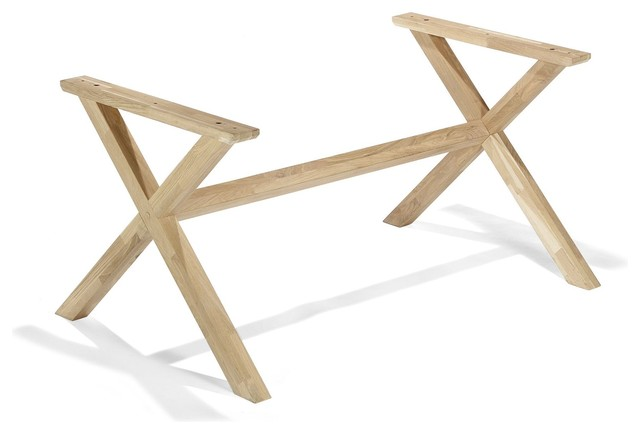 Vario cross pi tement de table en pin naturel contemporain plateau et pied de table par for Pietement de table
