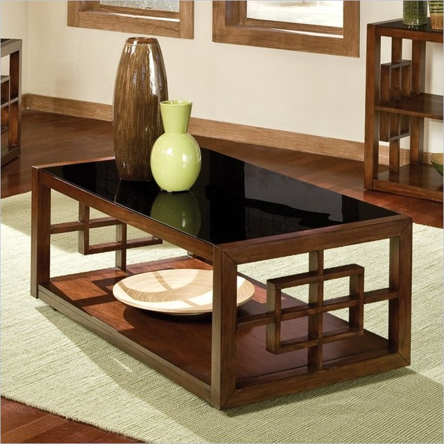Standard Furniture Hamilton Glass Coffee Table With Casters In Cherry Contemporary Coffee
