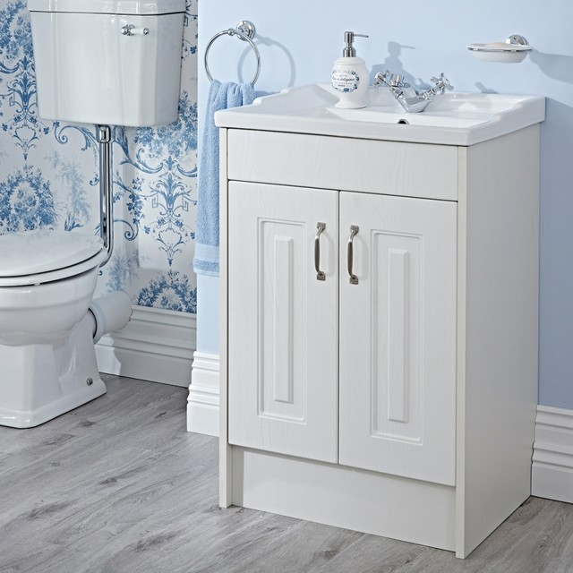 Milano York 600mm White Ash Vanity Unit Traditional Bathroom Other By