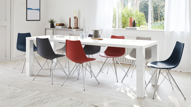 Fern White Gloss Extending Dining Table Contemporary