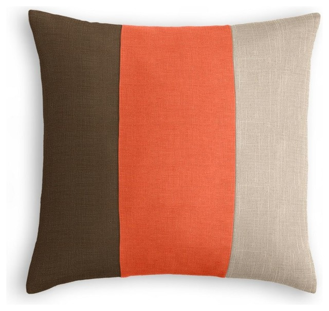 Chocolate Brown, Coral and Light Taupe Linen Color Block Pillow - Beach Style - Decorative ...