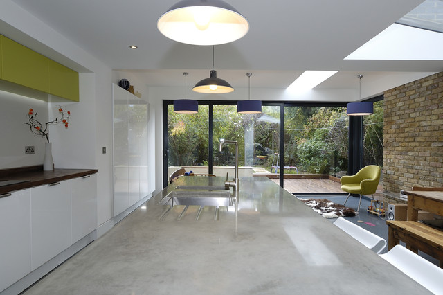 Concrete countertops uk london modern kitchen for Modern kitchen london