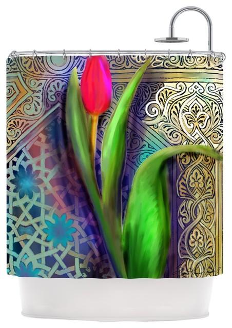 S Seema Z Arabesque Tulip Green Gold Shower Curtain