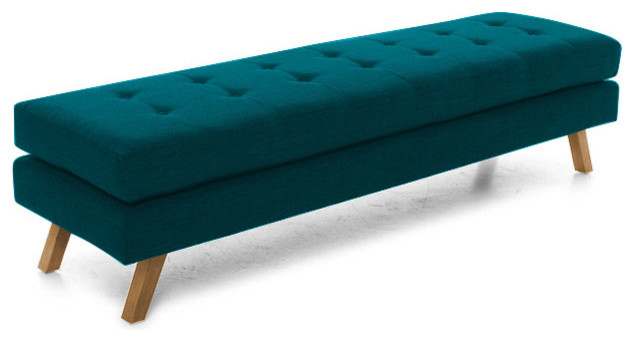 Worthy Bench Lucky Turquoise Blue Midcentury Upholstered Benches