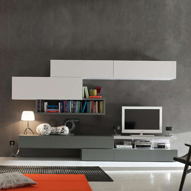 39 grey white 39 bespoke tv media unit by santa lucia modern for Contemporary tv media units
