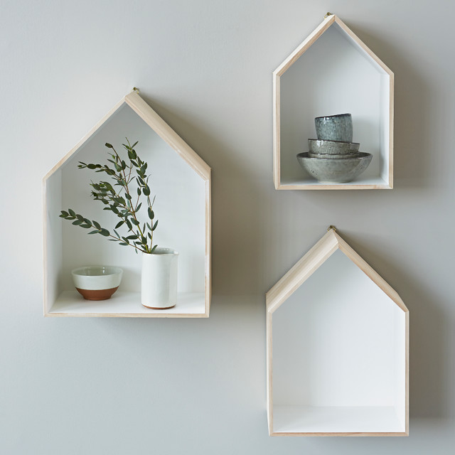 Madison bathroom remodeling - Set Of 3 House Box Shelves Contemporary Display And