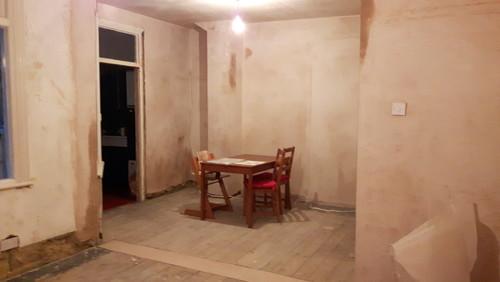 Open plan kitchen layout for kitchen diner playroom for Kitchen diner flooring ideas