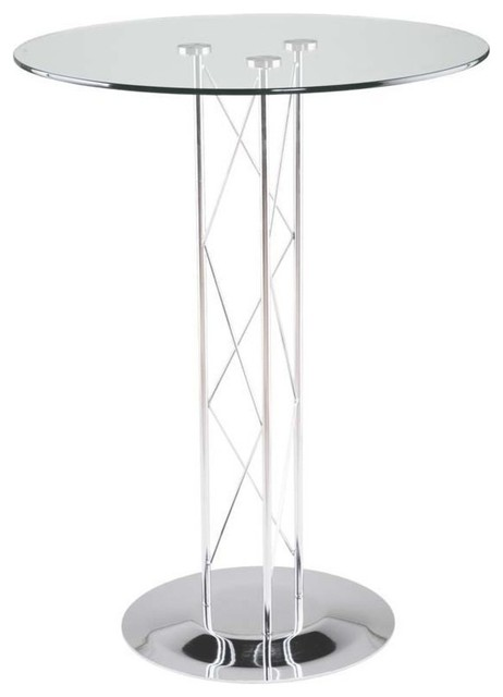 Eurostyle Trave B 36 Inch Round Glass Bar Table In Chrome