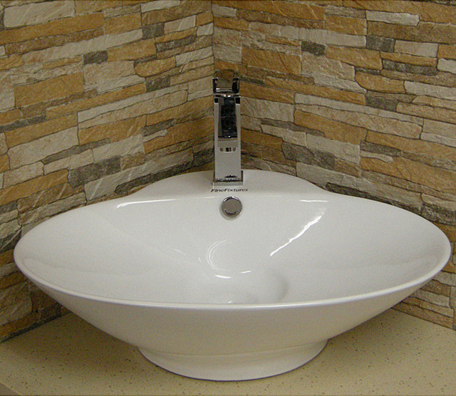 Oval Vitreous-China White Vessel Sink - Contemporary - Bathroom Sinks - by Overstock.com