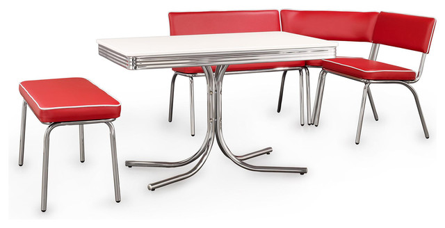 retro chrome corner nook dining set red vinyl midcentury dining sets
