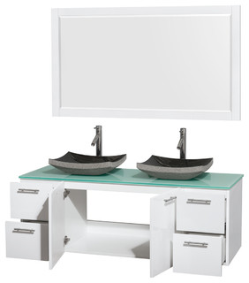 Amare 60 Double Vanity White Green Glass Top Altair Black Granite Si