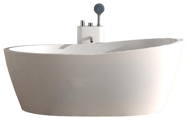 Adm matte stand alone resin bathtub white modern for Stand alone bathtubs modern