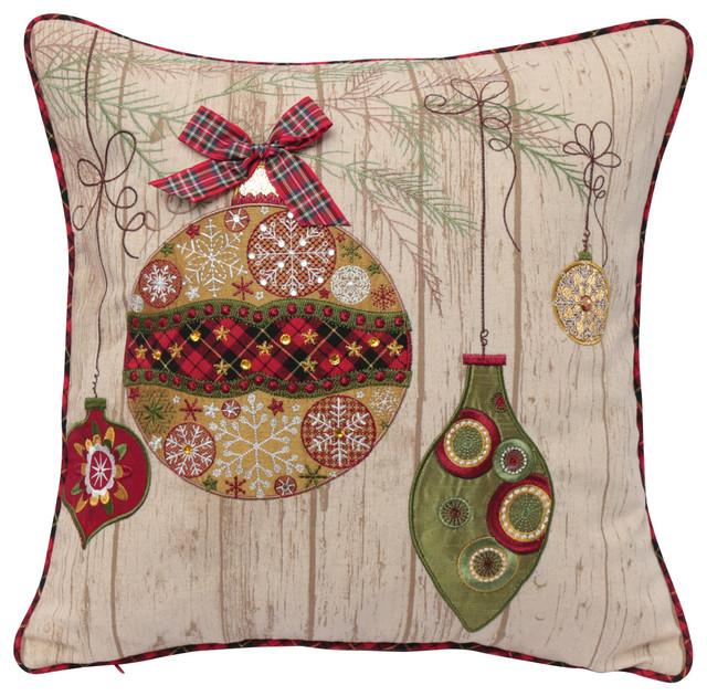 Decorative Christmas Pillows Throws : Ornament Christmas Pillow - Contemporary - Decorative Pillows - by 14 Karat Home, Inc