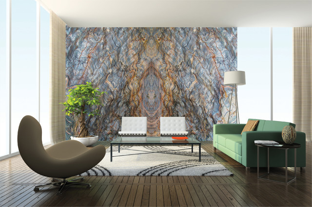 Bookmatched Stone Ideas Contemporary Living Room