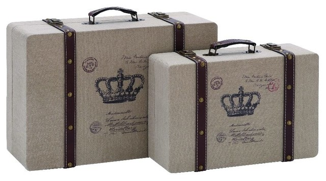 stylish and classic vintage look french burlap travel luggage home decor transitional decorative trunks
