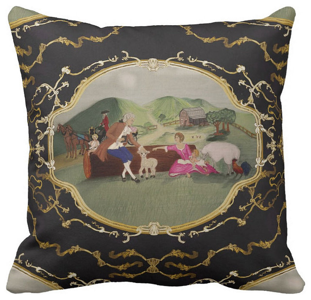 PH&D French Toile Pillow Black and Gold French Country