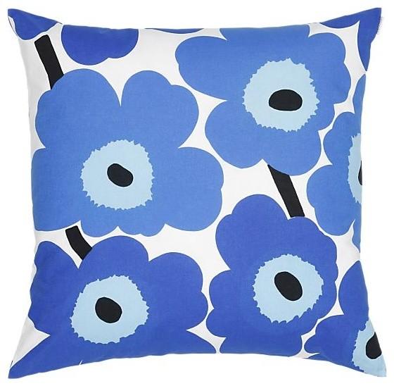 Marimekko Pieni Unikko Blue Pillow Contemporary