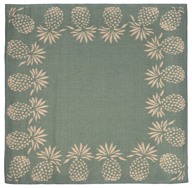 "Pineapple Kitchen Rugs: Pineapple Border Aqua Rug, 7'10"" Square"