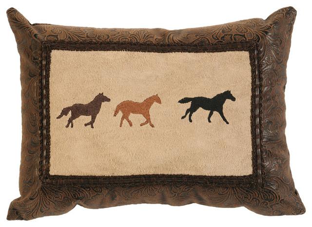 Decorative Horse Pillows : Mustang Canyon Three Horse Pillow - Rustic - Decorative Pillows - by Wooded River Inc