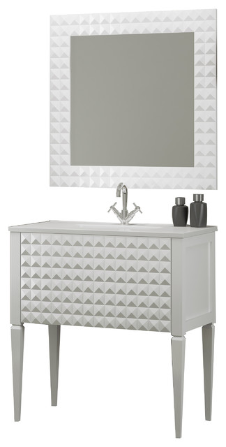 Diamond Bathroom Vanity And Wall Mirror White Gloss 32 Contemporary Bathroom Vanities And