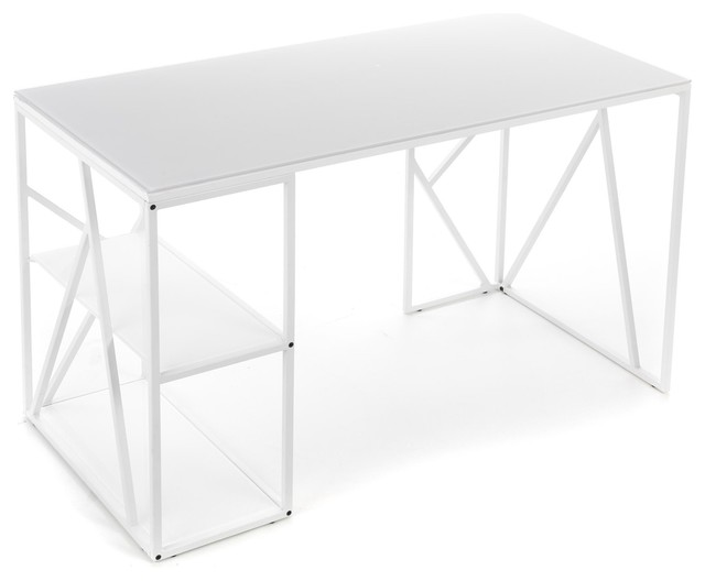 Sandy bureau avec 2 tablettes contemporain meuble for Meuble bureau contemporain
