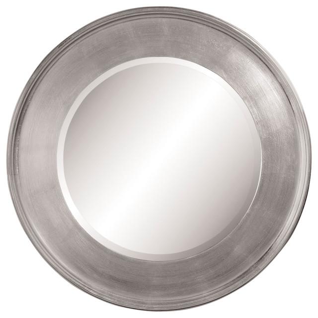 21 inch silver leaf round wall mirror traditional for Round silver wall mirror