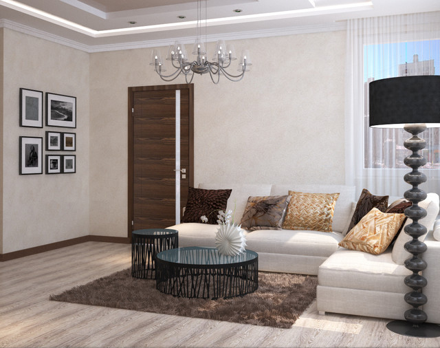 cream and chocolate colors in living room and kitchen design