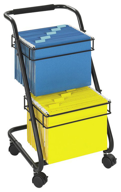 Safco Jazz 2-Tier Mobile Metal Hanging File Cart - Contemporary - Office Carts And Stands - by Cymax