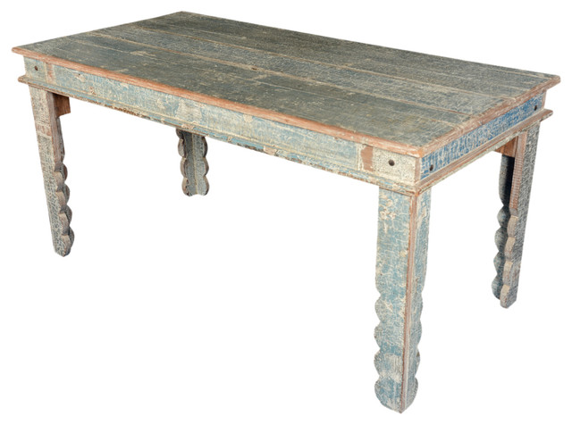 Country blue reclaimed wood kitchen table w scalloped legs for Reclaimed wood furniture san francisco
