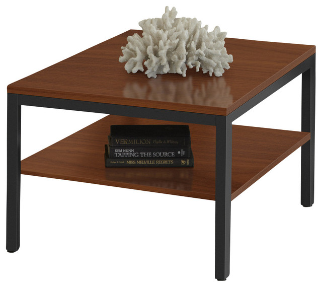 Parsons Edition Cherry Corner Table With Shelf Modern Coffee Tables
