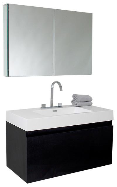 Fresca mezzo black modern bathroom vanity w blum storage for Decorplanet bathroom vanities