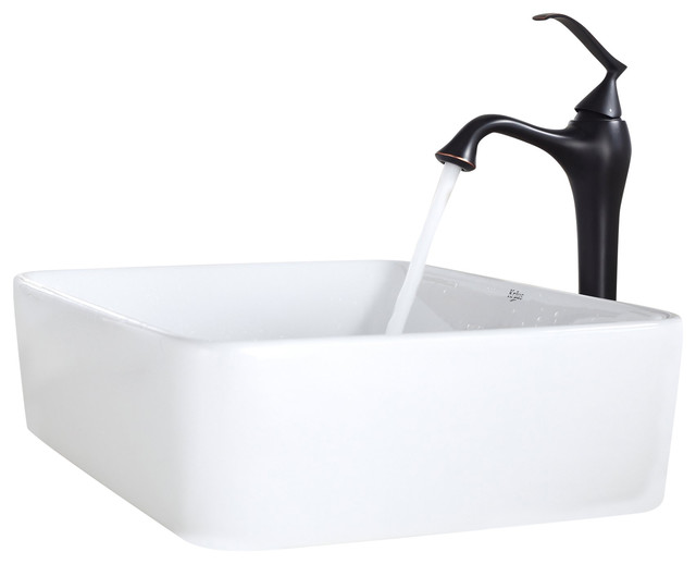 Contemporary Oil Rubbed Bronze Bathroom Vessel Vanity Sink: Kraus White Rectangular Ceramic Sink And Ventus Faucet Oil