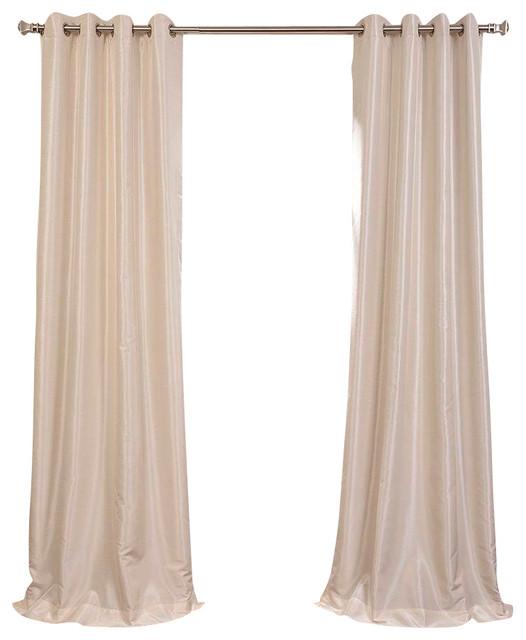 Off White Grommet Blackout Vintage Faux Silk Dupioni Curtain Single Panel Contemporary