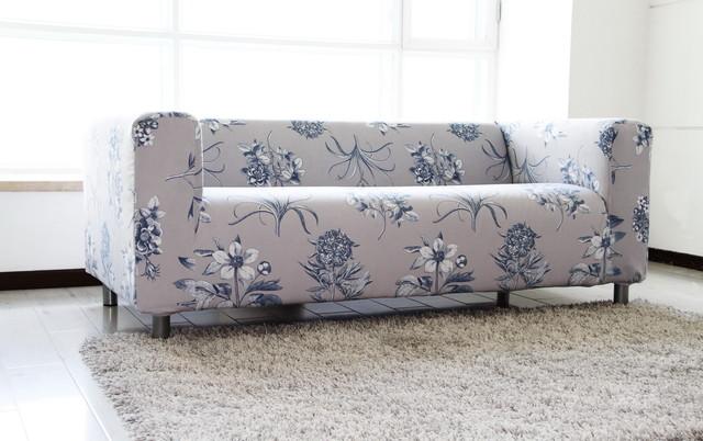 Custom Floral Velvet Sofa Cover For The Ikea Klippan 2 Seater Sofa Contemporary Slipcovers