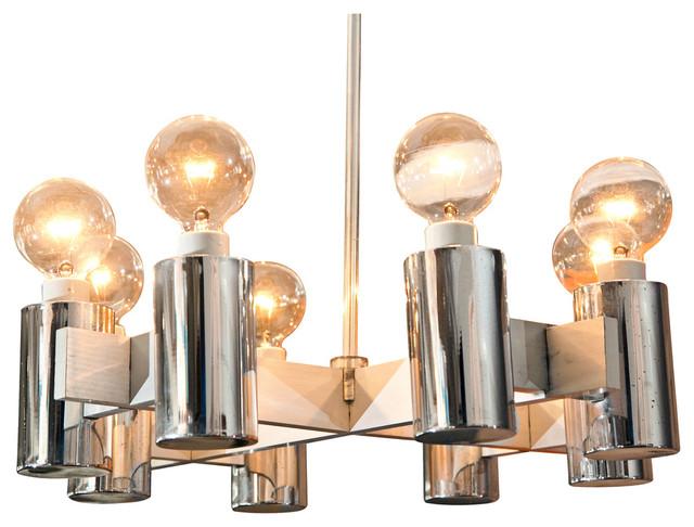 Vintage 1960s Brushed Steel Lightolier Chandelier Modern Chandeliers