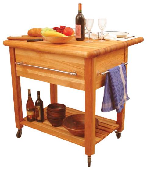 Catskill Craftsmen Grand Island Butcher Block Workcenter with Drop Leaf - Traditional - Kitchen ...
