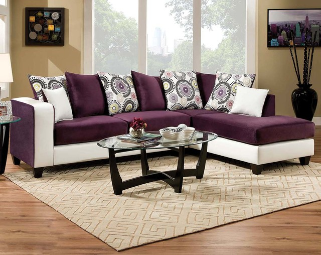 Implosion Purple 2 Piece Sectional Sofa Living Room By American Freight F