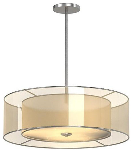 phx modern 2 layers of fabric shade pendant lighting