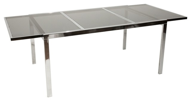 Consigned Mid Century Modern Chrome Glass Extension Dining