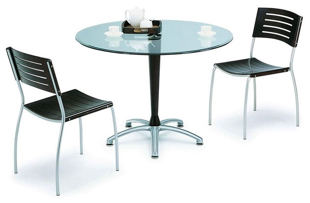 Contemporary Round Glass Top Designer Table And Chairs Set Contemporary D