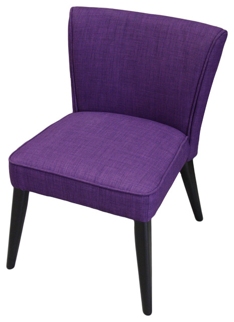 Faux Linen Accent Chair Royal Purple Contemporary