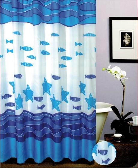 Blue Lovely Fish Desgin Bath Curtain Mediterranean