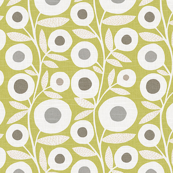 Chartreuse graphic flower print fabric modern curtain for Modern home decor fabric prints