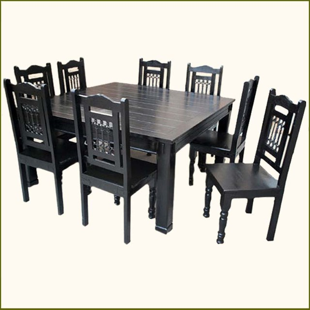 Rustic Solid Wood Large Square Dining Table Chair Set: Solid Wood Rustic Square Dining Table Chairs Set For 8