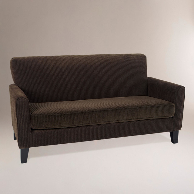 Modern coffee monroe corduroy loveseat brown fabric for Brown corduroy couch