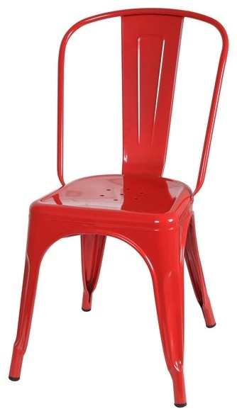Amelia Industrial Metal Cafe Chairs Red Contemporary Dining Chairs By
