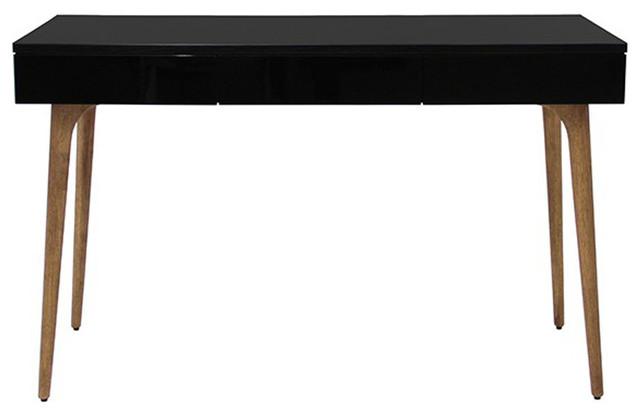 Console bureau en bois teck noir contemporary console - Table console bois ...