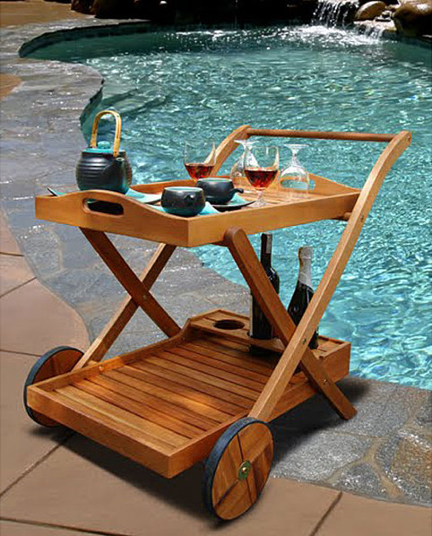 Wood Serving Cart ~ Hana eucalyptus wood serving cart modern bar carts